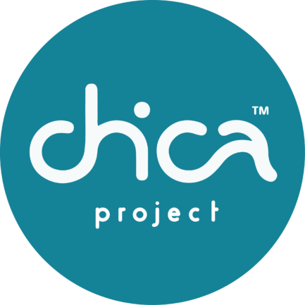 Chica project circular logo, white text over blue backgorund