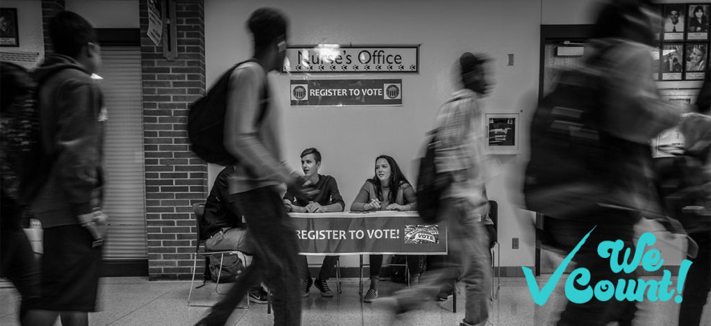 Registering voters in a crowded school